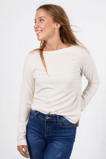 Γυναικεία μακρυμάνικη ριπ μπλούζα με διπλωμένο λαιμό χαμόγελο σε εκρού χρώμα.