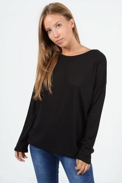 Long Sleeve Blouse -  Black