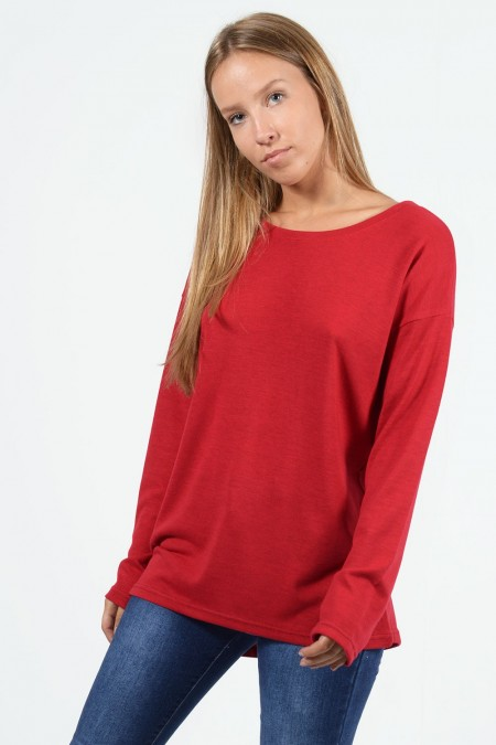 Long Sleeve Blouse - Red