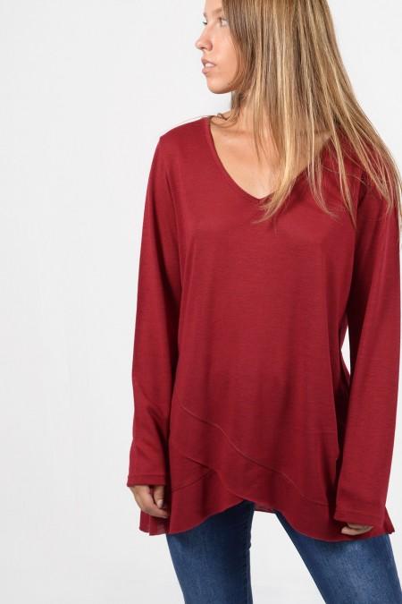 Asymmetric Blouse - Dark Red
