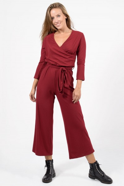 Cropped Jumpsuit - Red