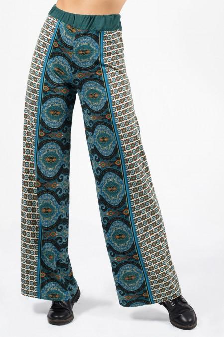 Printed Wide Pants - Blue