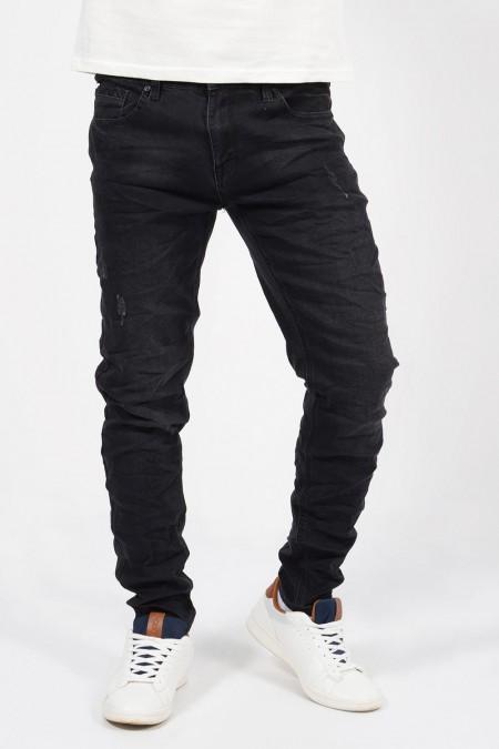 Ανδρικό τζιν παντελόνι σε slim γραμμή με τσέπες και τσαλακωμένη όψη.