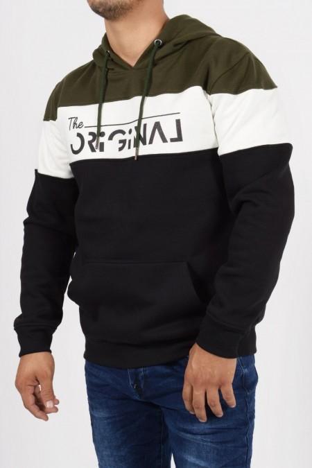 Φούτερ, βαμβακερή μπλούζα με τριχρωμία, κουκούλα, τσέπες και στάμπα.