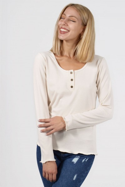 Top with Buttons - Cream