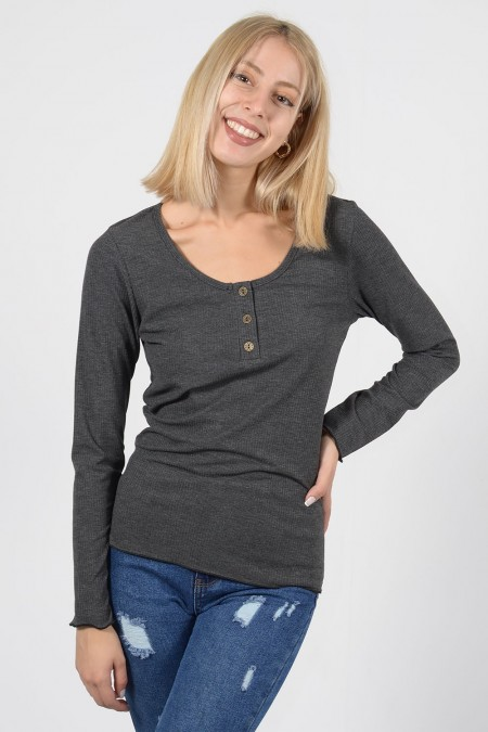Top with Buttons - Grey