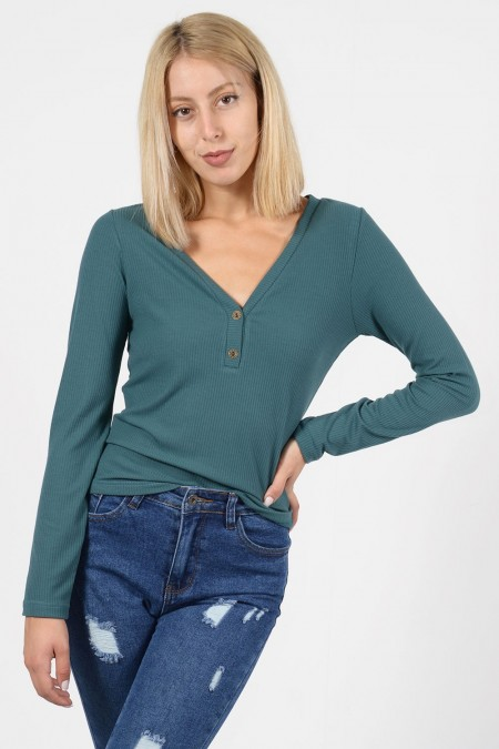 Rib Top with Buttons - Green