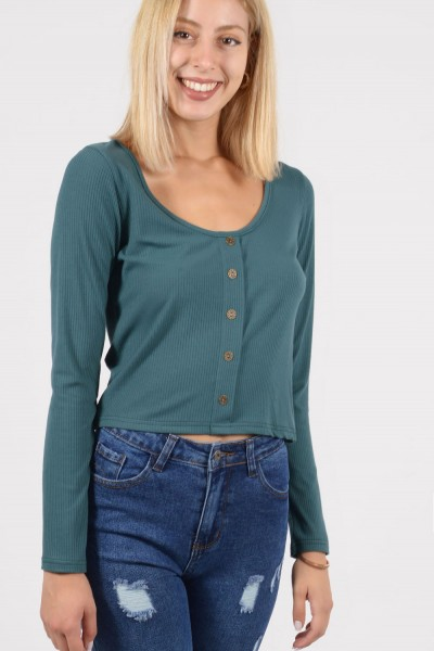 Crop Top with Buttons - Green