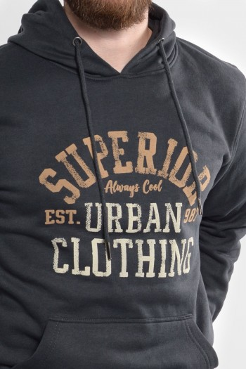Ανδρική φούτερ μπλούζα 100% βαμβακερή με κουκούλα, μεγάλη στάμπα μπροστά και μπροστινή μεγάλη τσέπη.
