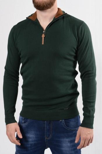 Ανδρική πλεκτή μπλούζα 100% βαμβάκι, με μακριά μανίκια, ψηλό γιακά και φερμουάρ με δερμάτινη λεπτομέρεια.