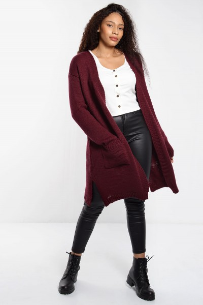 Knitted Cardigan with Pockets - Bordeaux