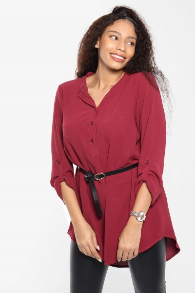 Long Blouse with Belt - Red