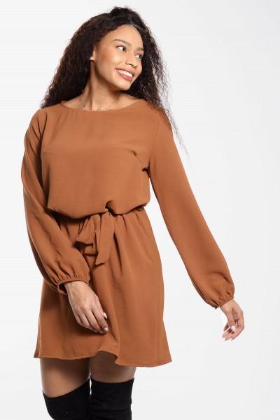 Φόρεμα Μίνι με Δέσιμο - Κάμελ