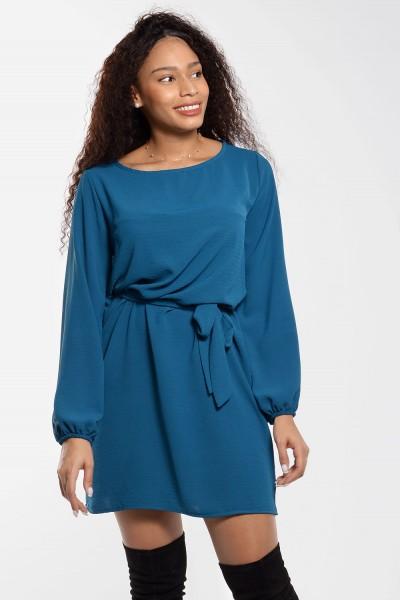 Φόρεμα Μίνι με Δέσιμο - Πετρόλ