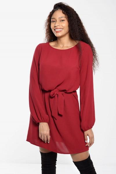 Φόρεμα Μίνι με Δέσιμο - Κόκκινο