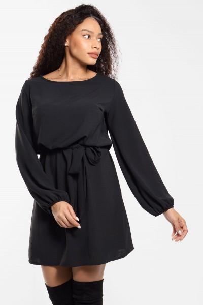 Φόρεμα Μίνι με Δέσιμο - Μαύρο