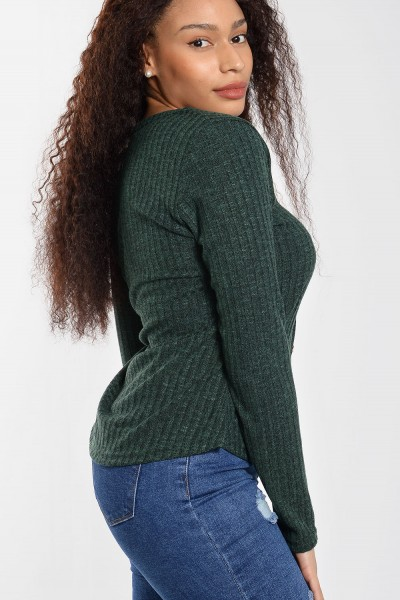 Rib Top with Buttons - Cypress Green