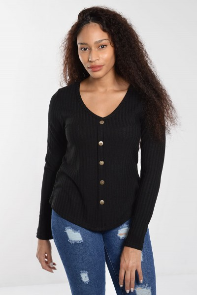 Rib Top with Buttons - Black