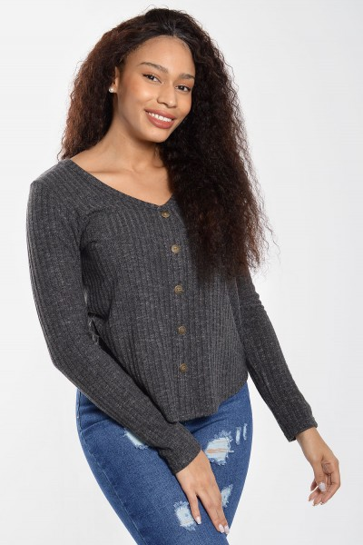Rib Top with Buttons - Grey