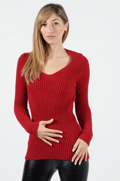 Πλεκτή Μπλούζα - Κόκκινο