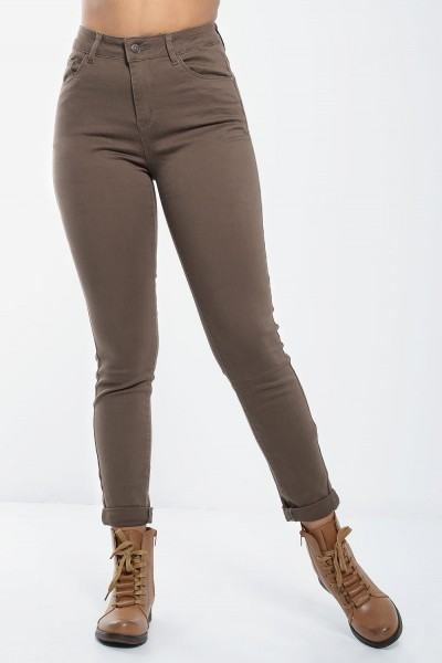 High Waisted Jeans with Pockets - Taupe