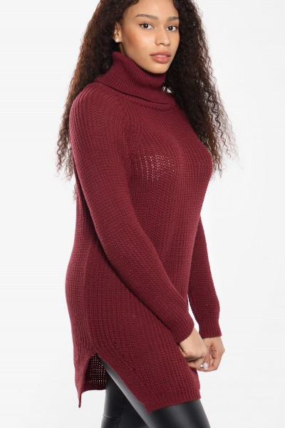 Knitted Sweater High Neck - Bordeaux