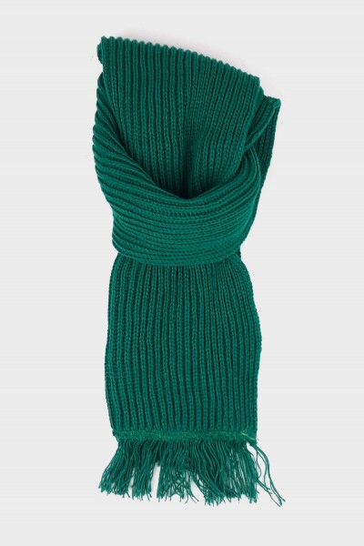 Knitted Scarf with Fringes - Green