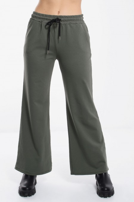Wide Leg Sweatpants - Khaki