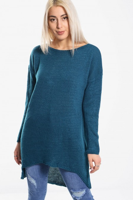 Knitted Sweater Asymmetric - Blue