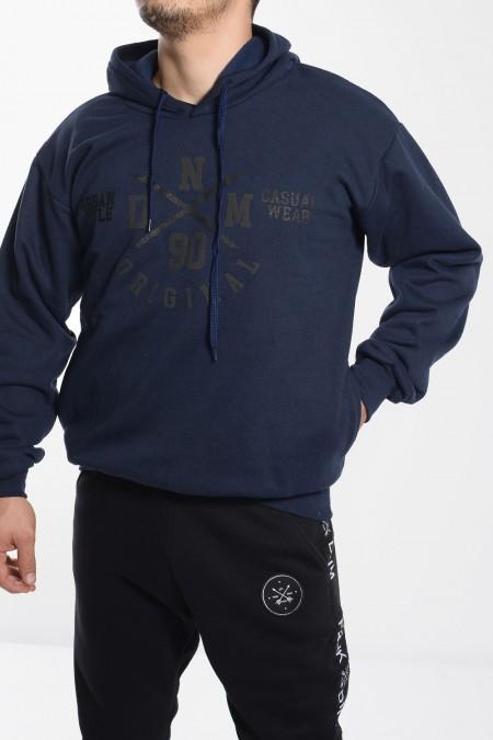 Φούτερ Μπλούζα με Στάμπα - Σκούρο Μπλε