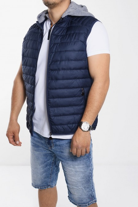 Sleeveless Jacket with Hood - Blue