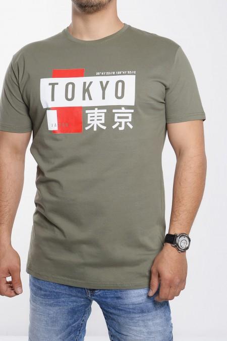 """Mens T-Shirt Stamp """"Tokyo"""" - Olive"""