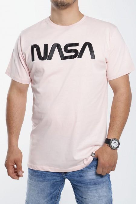 "Mens T-Shirt Stamp ""Nasa"" - Light Pink"