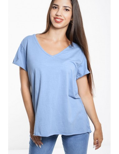 Γυναικείο Βαμβακερό Τ-Shirt Φλάμα - Σιέλ