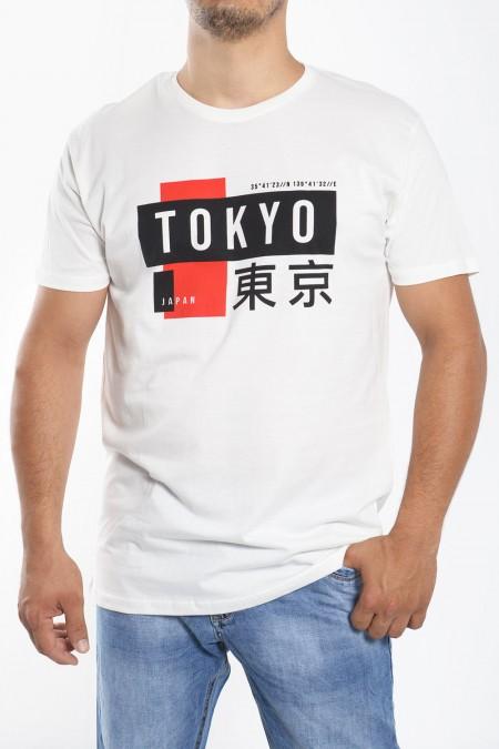 """Ανδρικό T-Shirt Στάμπα """"Tokyo"""" - Λευκό"""