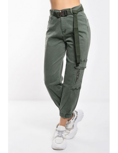 Trendy women's utility pants with belt