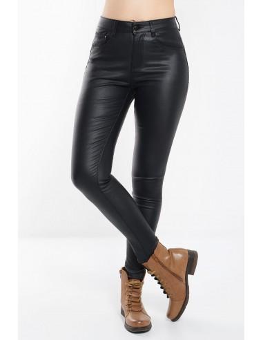 Γυναικείο ψυλόμεσο Παντελόνι Δερματίνη σε μαύρο χρώμα με τσέπες