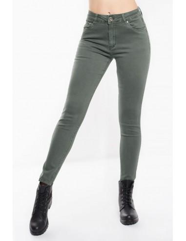 Παντελόνι με μεσαίο καβάλο και ανορθωτικό εφέ σε στενή, skinny γραμμή. Σε χακί χρώμα