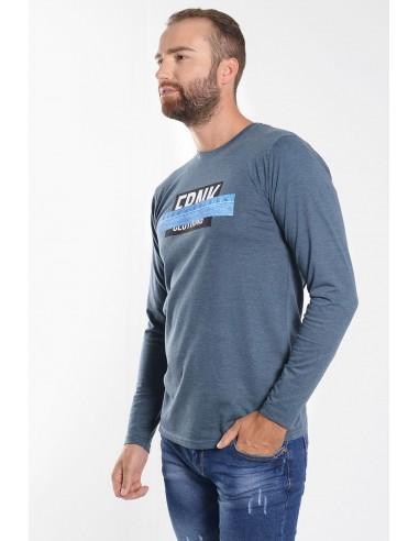 Ανδρική Μπλούζα σε μπλε χρώμα με Στάμπα