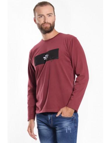 Ανδρική Μπλούζα με Στάμπα - Κόκκινο