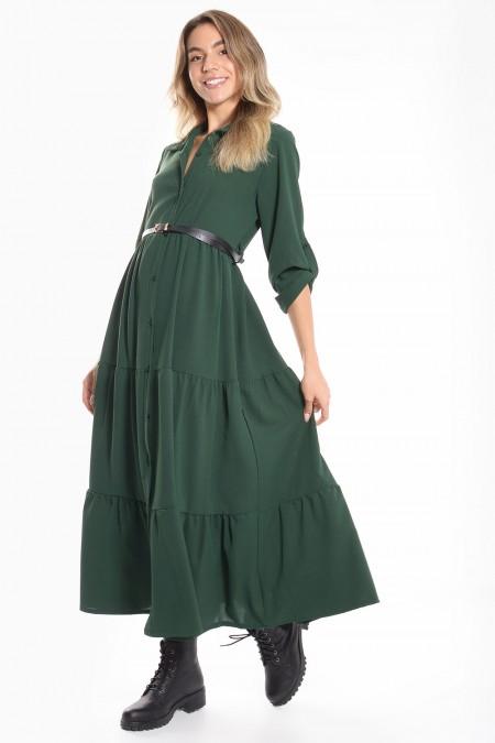 Φόρεμα Σεμιζιέ με Βολάν - Πράσινο