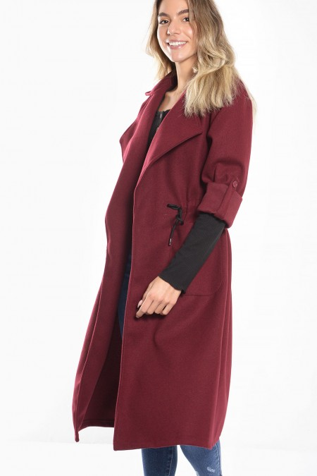 Coat with Tunnel Cord - Bordeaux